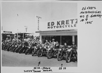 Ed Kretz Motorcycles shop with many of the family and community on motorcycles