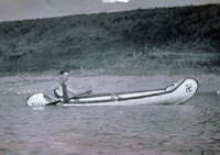 Ralph Josten in a canoe at Big Garvey Dam in 1912